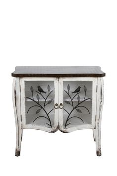 First Spring: Bird Decor & Designs  Wooden Two Door Accent Cabinet - White/Brown  $349.00