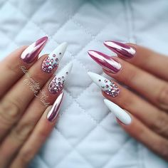 @pelikh_ nailz White, chrome over pink, iridescent crystals on an almond nail.