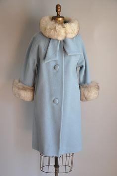 1950s designer Lilli Ann Ultimate Bombshell baby blue white fox fur coat
