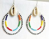 MAASAI LOOPS - Cowrie Shell Double Hoops