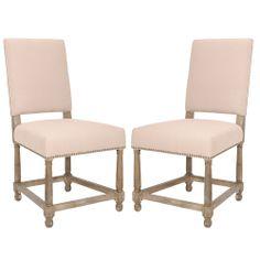 Safavieh Bexley Beige Linen Nailhead Side Chairs (Set of 2) | Overstock.com