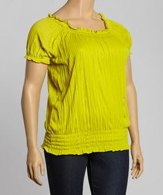 Another great find on #zulily! Lime Crinkle Blouson Top - Plus by Allie & Rob #zulilyfinds