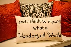 Stenciled Canvas Pillow  What a Wonderful by JoaniesFavoriteThing, $32.00