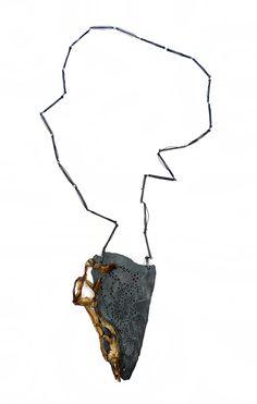 Sina EmrichNecklace: FiftyFifty 2012Wood, Nägel, black thread12,5 x 8,5 x 1,5 cm  length: 83 cm