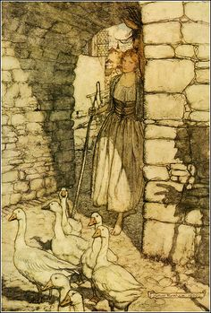 """Vintage illustration """"The gooesgirl"""", by the brothers Grimm,illustrated by Arthur Rackham. From a collection selected and edited by Jeff A. Menges.