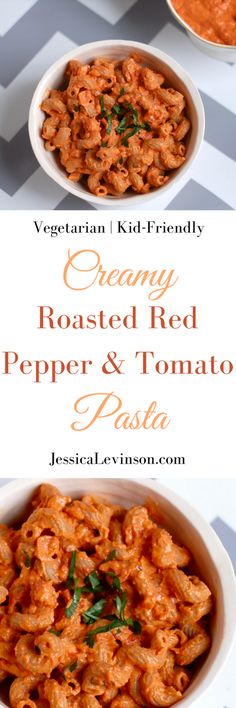 Quick & Easy Creamy Roasted Pepper and Tomato Pasta   Sweet roasted red peppers, savory sun-dried tomatoes, protein and fiber-rich chickpeas, and ricotta cheese come together to make this creamy sauce that perfectly coats your favorite pasta. A dish the whole family - kids included - will love! Get this vegetarian recipe @jlevinsonrd.