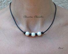 Perlas y cuero celta nudo collar  perlas y joyería de cuero