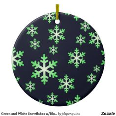 Green and White Snowflakes w/Blue Background Ceramic Ornament