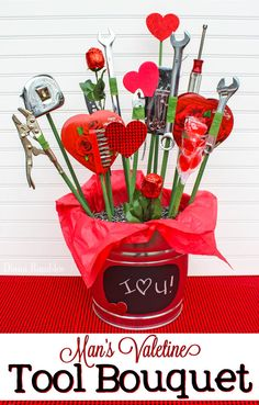 Candy and Tool Bouquet for Valentine's Day Tutorial - Want to create your own bouquet for your man for Valentine's Day? He'll love this tool and candy basket.