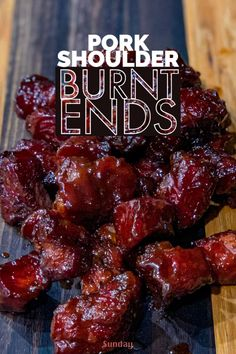 Pork Shoulder Burnt Ends - A unique take on a classic burnt ends recipe. These are leaner than traditional burnt ends. If you're looking for unique barbecue recipes, or off the wall appetizer ideas, check this out! recipes Pork Shoulder Burnt Ends Traeger Recipes, Smoked Meat Recipes, Barbecue Recipes, Grilling Recipes, Pork Recipes, Barbecue Sauce, Vegetarian Grilling, Healthy Grilling, Vegetarian Food