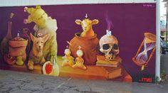 Street art by Chilean artist Inti in Honolulu, Hawaii