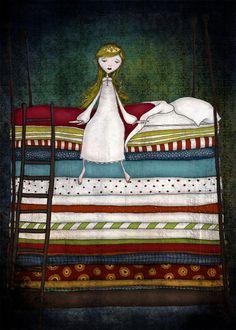 I love this illustration - it's so whimsical! The Princess and the Pea Princess And The Pea, Fairytale Art, Children's Book Illustration, Book Art, Fairy Tales, Whimsical, Folk, Artsy, Cartoon