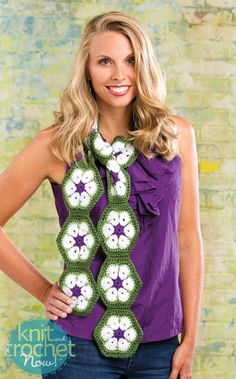 Free Crochet Pattern Download -- This African Flower Scarf, designed by Candi Jensen, is featured in episode 412 of Knit and Crochet Now! TV. Learn more here: www.knitandcrochetnow.com