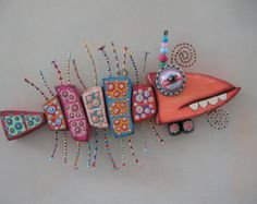Pink Piranha Original Found Object Wall Sculpture by FigJamStudio