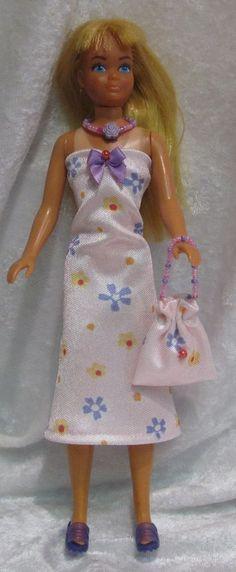 SKIPPER vintage Barbie Doll Clothes #15 Dress, Purse & Beaded Necklace Set #HandmadebyESCHdesigns
