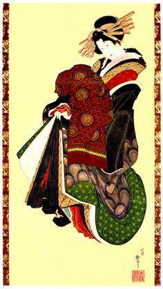 遊女図(葛飾北斎の画)の拡大画像