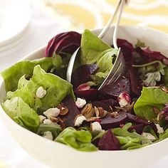 Green Salad with Roasted Beets, Goat Cheese and Almonds by susie