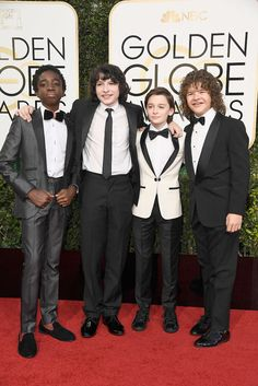 """Caleb McLaughlin, Finn Wolfhard, Gaten Matarazzo, and Noah Schnapp showed up in their Sunday best for their red carpet debut. 