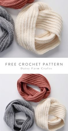 Free Pattern - Simple Crochet Dreamy Infinity Scarf I made some more in. Free Pattern - Simple Crochet Dreamy Infinity Scarf I made some more infinity scarves! Mode Crochet, Knit Crochet, Crotchet, Crochet Granny, Crochet Winter, Crochet Things, Knit Cowl, Hand Crochet, Crochet Scarves