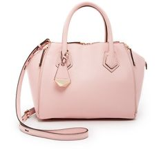Rebecca Minkoff Mini Perry Satchel ($405) ❤ liked on Polyvore featuring bags, handbags, baby pink, mini purse, genuine leather handbags, pink leather satchel, satchel purse and mini satchel handbags