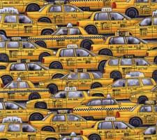 New York Taxi Cabs Fabric -- if you ever loved New York City --  you will love the exclusive fabrics from the City Quilter!