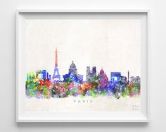 Paris France Watercolor Skyline Poster Cityscape Wall Art Print Home Decor Watercolour Artwork - Unframed Watercolor Artwork, Watercolor Print, Paris Poster, City Painting, Wall Art Prints, Tapestry, Click Photo, Paris France, Cityscapes
