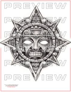 awesome  aztec sun tattoo design