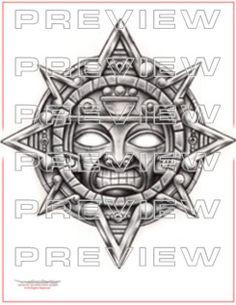 incredible aztec sun tattoo design