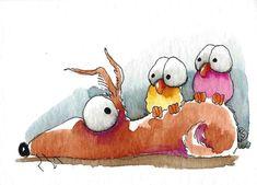 Birds sitting on dogs back painted rock idea Watercolor Art Paintings, Happy Paintings, Watercolor Animals, Watercolor Illustration, Guache, Whimsical Art, Dog Art, Cute Art, Dog Sleeping