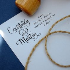 Custom calligraphy address stamp -- side by side calligraphy and type -- vintage reserve style - Thumbnail 3
