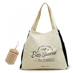 EcoJeannie 100% #CottonCanvas #Reusable #ToteBag w/ Inner Pocket, Gusset and Closure Strips (Avail : Pack of 1,2,3,4, 5 Bags), Multi Use bag #Shoulder Bag #Travel Tote, #Picnic Bag #24-7 Bag #School Bag #Free Shipping