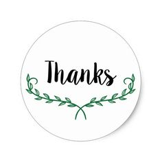 Thanks Green Rustic Wreath Sticker