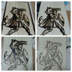 Pyrography with recycled wood. Spartan warrior.