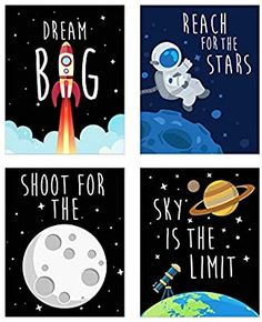 Amazon.com: Space Kids Nursery Bedroom Decor - Set of Four 8x10 Prints - Cute Inspirational Wall Art Decoration For Boys and Girls: Posters & Prints Boy Wall Art, Nursery Wall Art, Wall Art Decor, Boys Space Bedroom, Kid Spaces, Space Kids, Boy Decor, Space Theme, Inspirational Wall Art