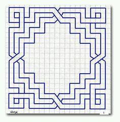 Geometric pattern, no curves, symmetrical Blackwork Patterns, Blackwork Embroidery, Zentangle Patterns, Embroidery Patterns, Quilt Patterns, Doodle Patterns, Graph Paper Drawings, Graph Paper Art, Geometric Drawing
