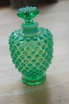 Vintage opalescent green Fenton hobnail perfume by HoundTales