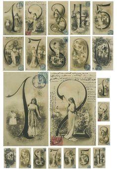 French Number Cards - Collage Sheets - Set of 3 - Digital Images Vintage, Vintage Tags, Vintage Labels, Vintage Ephemera, Vintage Pictures, Vintage Paper, Vintage Postcards, Vintage Prints, Etiquette Vintage