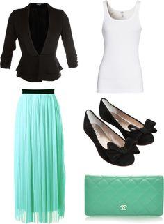 Cute. Mint skirt, black blazer, cute bow flats.  @Nadia Hernandez, I can sooo see you wearing this, nicely. :)