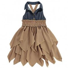 7e14afdea Lele For Kids Big Girls Brown Cascade Ruffle Halter Strap Casual Dress 8  Little Girl Fashion