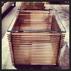 These could be great for booth furniture, lounges, or demo tables. Brass rod glass topped side tables @Evan Baker Furniture  #eventprofs