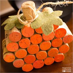 Recycle old wine corks into a pumpkin decoration.