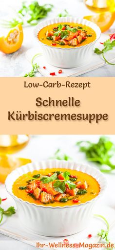 Fast Low Carb Pumpkin Cream Soup - Healthy, Easy Recipe - All Salad Types and Recipes Quick Soup Recipes, Quick Easy Healthy Meals, Healthy Soup, Low Carb Recipes, Easy Meals, Healthy Pumpkin, Cream Of Pumpkin Soup, Cream Soup, Fast Low Carb
