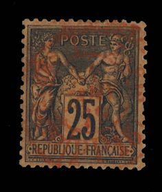 TYPE SAGE - 1879 - N°91 25c NOIR/ROUGE (N SOUS U) CAD ROUGE DES IMPRIMÉS - B/TB in Timbres, France, France: oblitérés | eBay