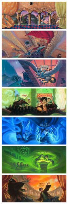 Cover Art for Each Harry Potter Book (US editions)