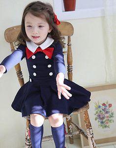 Girls Kids Children Tutu Dress School Uniform Long-sleeved Bowknot Cotton 2-7Yrs