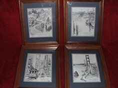 These are four vintage lithographs of the original signed and dated artwork by Don Davey. The black and white prints depict treasured landmarks of San Francisco.