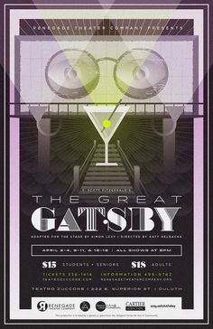 """The Great Gatsby"" theater poster design for Renegade Theater Company in Duluth, Minnesota. 2015."