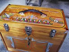 Gav Black's paint box Pinstripe Art, Kustom Kulture, Lowbrow Art, Pinstriping, Painted Boxes, Tool Box, Storage Chest, Artwork, Diy Ideas