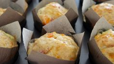 Matmuffins med gulrot, squash, ost og skinke