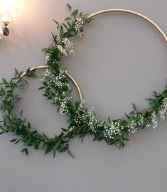 Diy crafts diy wedding decorations, bridal shower decorations, x Bridal Shower Decorations, Diy Wedding Decorations, Christmas Decorations, Fleurs Diy, Greenery Wreath, Greenery Decor, Wedding Wall, Floral Hoops, Deco Floral